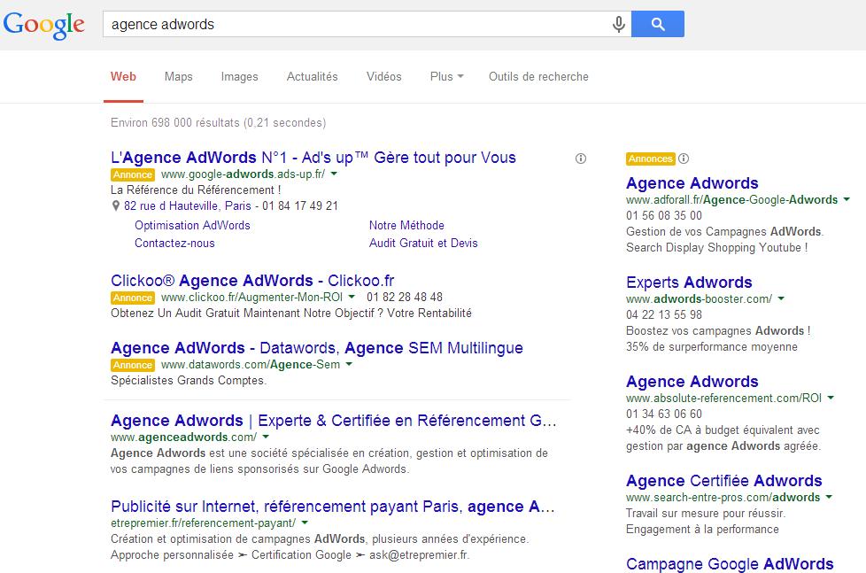 Nouvel affichage des résultats Google