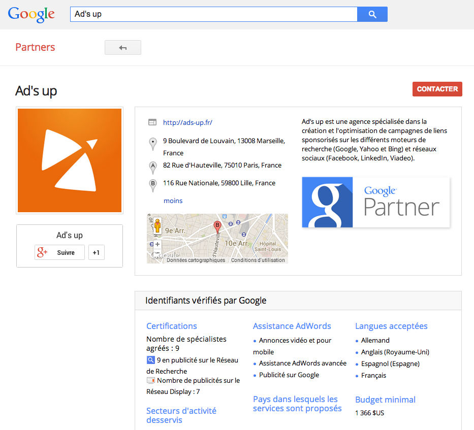 Fiche Ad's up Google Partner