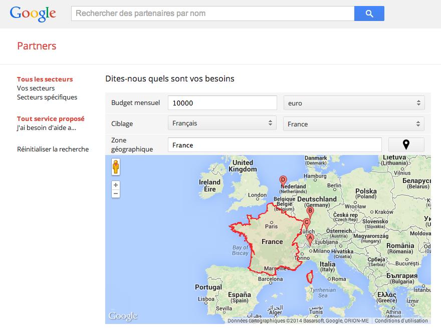 Recherche de Partenaires Google Partners