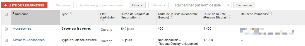 Audiences similaires Google AdWords