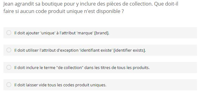 Certification Shopping Exemple Question