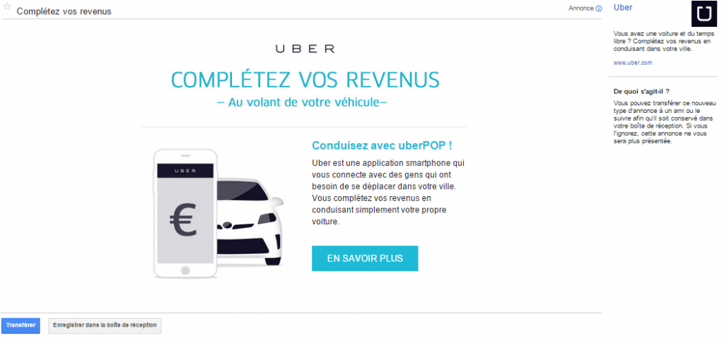 Le message GSP d'Uber