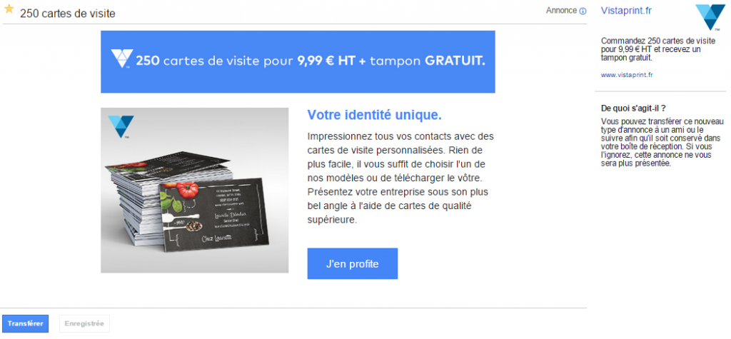 Le message GSP de VistaPrint