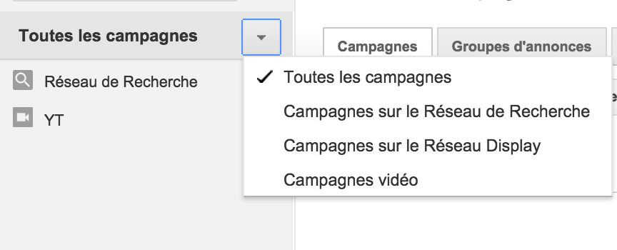 Selection type campagne Adwords