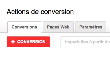 Action de conversion Adwords