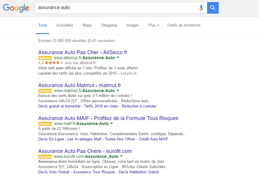 Google AdWords annonces jaunes