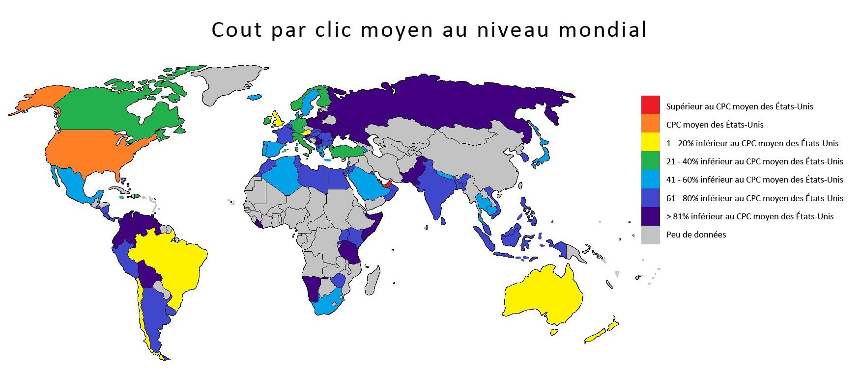 CPC moyen par pays