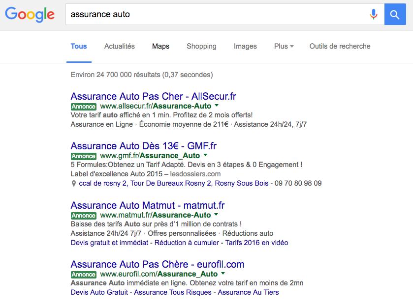 google adwords couleur vert