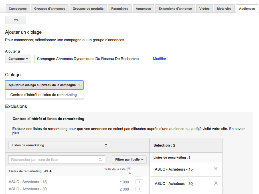 AdWords exclusion audience