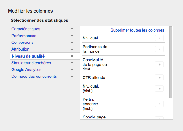 Colonnes Google AdWords