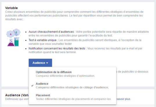 Test de répartition Facebook