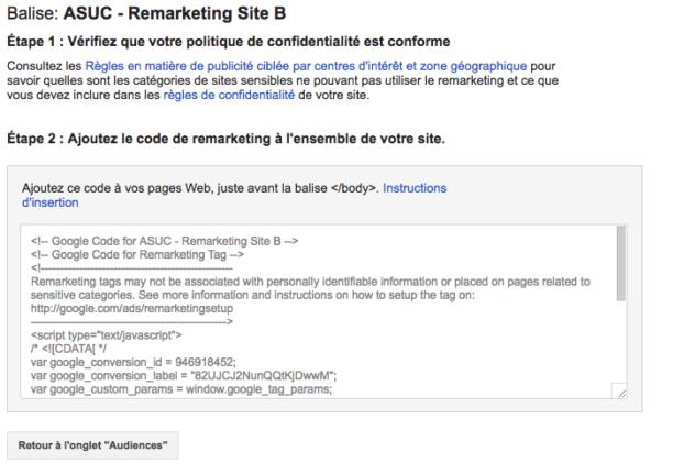 Création tag pour liste de remarketing AdWords