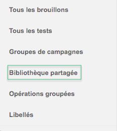 Bibliothèque partagé AdWords