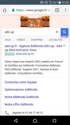 Extension d'appel Ads-up