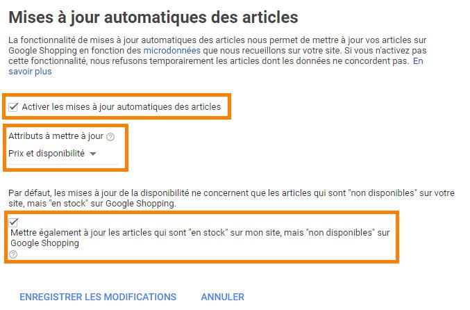 Mise à jour automatique des articles Google Shopping