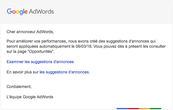 bêta suggestion annonce adwords