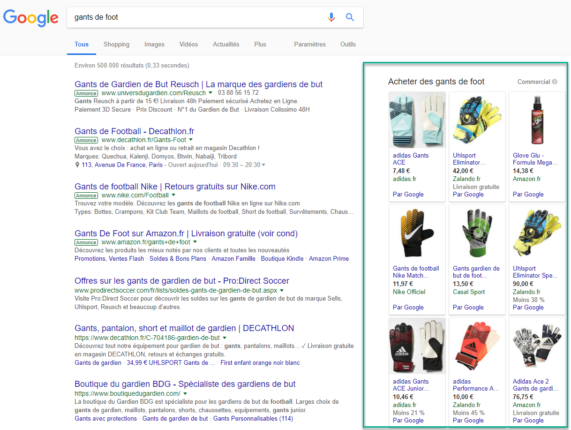 Exemple de capture Google Shopping à Droite