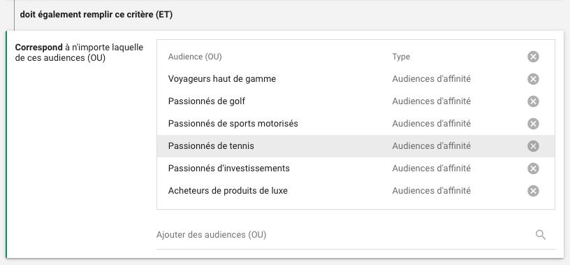 Centres d'intérêt - Audiences combinées - Google Ads